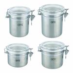 Посуда Gipfel Набор банок 4 шт. для хранения сыпучих продуктов (нерж.сталь) арт.5600