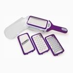 Посуда Gipfel Терка плоская 4 шт в контейнере  (сталь, ручка пластик) цвет фиолетовый арт.9846